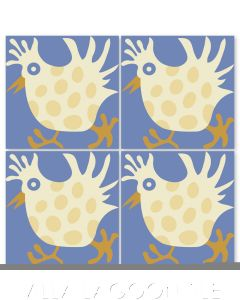 """""""Hen in Alabaster"""" Whimsical Wildlife Cement Tile by Jeff Shelton, from Villa Lagoon Tile."""