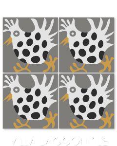 """Hen in Fog"" Whimsical Wildlife Cement Tile by Jeff Shelton, from Villa Lagoon Tile."