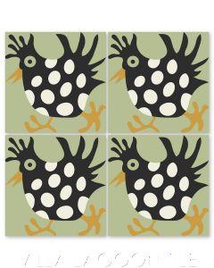 """Hen in Green Apple"" Whimsical Wildlife Cement Tile by Jeff Shelton, from Villa Lagoon Tile."