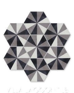 """Do-Si-Do Durango"" Geometric Hex Cement Tile, from Villa Lagoon Tile."