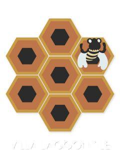 """Honey Comb & Bee on Terracotta"" Whimsical Wildlife Cement Tile by Jeff Shelton, from Villa Lagoon Tile."