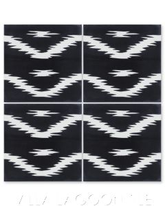 """""""Ikat A Black & White"""" Modern Fabric-Style Cement Tile, from Villa Lagoon Tile."""