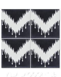 """Ikat C Black & White"" Modern Fabric-Style Cement Tile, from Villa Lagoon Tile."