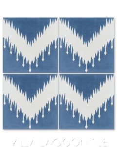 Ikat C Washed Denim Modern Fabric-Style Cement Tile, from Villa Lagoon Tile.
