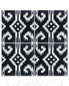 """Ikat D Black & White"" Modern Fabric-Style Cement Tile, from Villa Lagoon Tile."