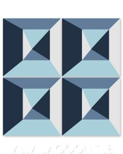 """""""In Box Blues"""" Modern Geometric Cement Tile by Neyland Design, from Villa Lagoon Tile."""