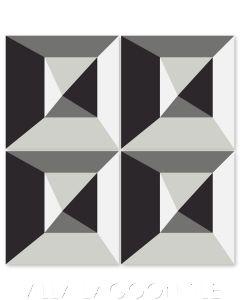 """In Box Sencillo"" Modern Geometric Cement Tile by Neyland Design, from Villa Lagoon Tile."
