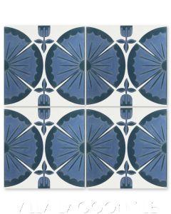 """Ischia Blue"" Modern Floral Cement Tile by Dekar Design, from Villa Lagoon Tile."