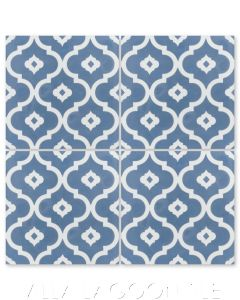 """Kasbah Washed Denim"" Moroccan Cement Tile, by Villa Lagoon Tile."