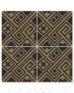"""""""Kuba Black and Bronze"""" Modern Fabric-Style Cement Tile by Neyland Design, from Villa Lagoon Tile."""