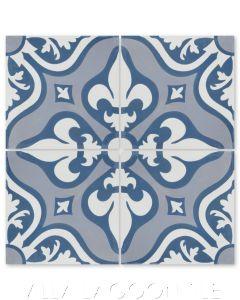 """""""Lancelot Blue"""" Floral Cement Tile, by Villa Lagoon Tile."""