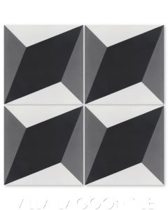 """Large Cubes Excalibur"" Geometric Cement Tile, from Villa Lagoon Tile."