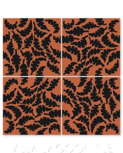 """Leaf Black & Henna"" Whimsical Floral Cement Tile by Jeff Shelton, from Villa Lagoon Tile."
