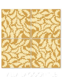 """Leaf Oro & Straw"" Whimsical Floral Cement Tile by Jeff Shelton, from Villa Lagoon Tile."