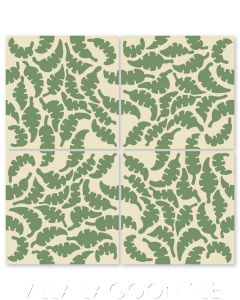 """Leaf Peridot & Whipped Cream"" Whimsical Floral Cement Tile by Jeff Shelton, from Villa Lagoon Tile."