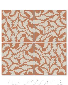 """Leaf Smoke & Terracotta"" Whimsical Floral Cement Tile by Jeff Shelton, from Villa Lagoon Tile."