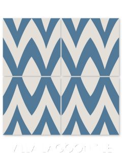"""Leaf Zag Royal Blue"" Modern Whimsical Cement Tile by Jeff Shelton, from Villa Lagoon Tile."