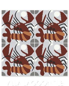 """""""Lobster on Silver"""" Whimsical Wildlife Cement Tile by Jeff Shelton, from Villa Lagoon Tile."""
