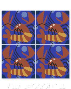 """Lobster on Ultramarine"" Whimsical Wildlife Cement Tile by Jeff Shelton, from Villa Lagoon Tile."