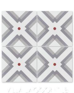 """Manhattan Cherry"" Modern Geometric Cement Tile, by Villa Lagoon Tile."