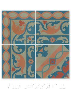 """Marinas Border"" Cuban Cement Tile with matching  ""Timba Fiesta"", from Villa Lagoon Tile."