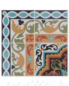 """Marinas Border"" Cuban Cement Tile with matching  ""Habanero Vivo"", from Villa Lagoon Tile."