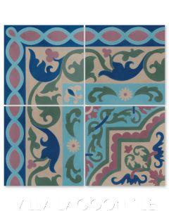 """Marinas Border"" Cuban Cement Tile with matching ""Habanero Autentico"", from Villa Lagoon Tile."