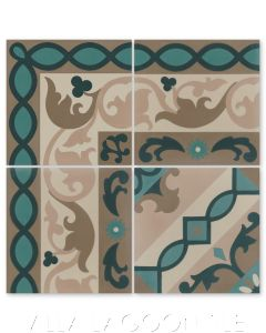"""""""Marinas Border"""" Cuban Cement Tile with matching  """"Timba Abuela"""", from Villa Lagoon Tile."""