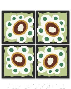 """""""Mazzy Flower on Green Apple"""" Whimsical Floral Cement Tile by Jeff Shelton, from Villa Lagoon Tile."""