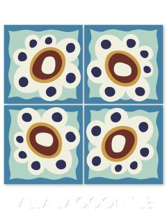 """""""Mazzy Flower on Mint to Be"""" Whimsical Floral Cement Tile by Jeff Shelton, from Villa Lagoon Tile."""