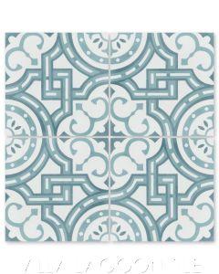 """""""Michael Velvet Sky"""" Trellis Cement Tile, by Villa Lagoon Tile."""