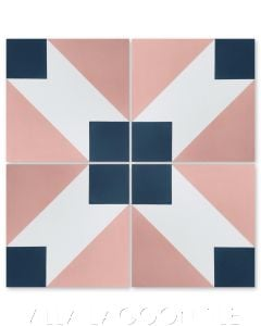 """Naples Coral"" Modern Geometric Cement Tile by Dekar Design, from Villa Lagoon Tile."