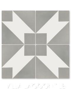 """Naples Misty Gray"" Modern Geometric Cement Tile by Dekar Design, from Villa Lagoon Tile."
