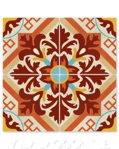 """Nuevo Castillo Fuego"" Traditional Floral Cement Tile, from Villa Lagoon Tile."