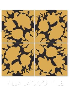"""Oil Spots Maple Sugar & Black"" Modern Whimsical Cement Tile by Jeff Shelton, from Villa Lagoon Tile."