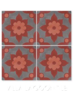"""""""Omar Sharif B Henna and Coral"""" Floral Cement Tile, from Villa Lagoon Tile."""