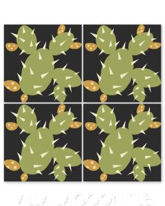 """""""Opuntia in Picholine at Night"""" Whimsical Floral Cement Tile by Jeff Shelton, from Villa Lagoon Tile."""