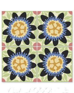 """""""Passion Flower in Black"""" Whimsical Floral Cement Tile by Jeff Shelton, from Villa Lagoon Tile."""