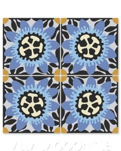 """""""Passion Flower in Periwinkle and Celeste"""" Whimsical Floral Cement Tile by Jeff Shelton, from Villa Lagoon Tile."""