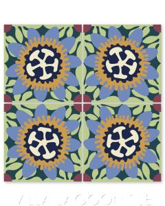 """""""Passion Flower in Periwinkle and Maple Sugar"""" Whimsical Floral Cement Tile by Jeff Shelton, from Villa Lagoon Tile."""