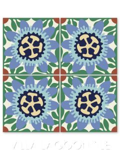 """""""Passion Flower in Periwinkle and Miami Blue"""" Whimsical Floral Cement Tile by Jeff Shelton, from Villa Lagoon Tile."""