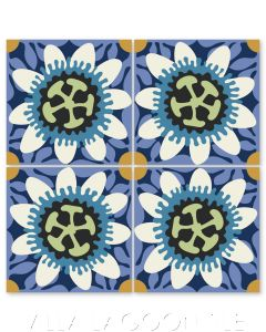 """Passion Flower in Sand Dollar and Azure"" Whimsical Floral Cement Tile by Jeff Shelton, from Villa Lagoon Tile."