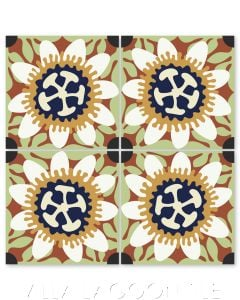 """""""Passion Flower in White and Maple Sugar"""" Whimsical Floral Cement Tile by Jeff Shelton, from Villa Lagoon Tile."""