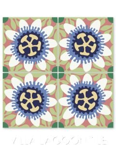 """""""Passion Flower in White and Periwinkle"""" Whimsical Floral Cement Tile by Jeff Shelton, from Villa Lagoon Tile."""