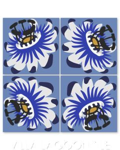 """""""Passion Flower Oblique in Fog"""" Whimsical Floral Cement Tile by Jeff Shelton, from Villa Lagoon Tile."""