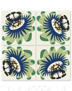 """""""Passion Flower Oblique in Green Apple"""" Whimsical Floral Cement Tile by Jeff Shelton, from Villa Lagoon Tile."""