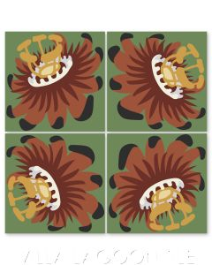 """""""Passion Flower Oblique in Henna"""" Whimsical Floral Cement Tile by Jeff Shelton, from Villa Lagoon Tile."""