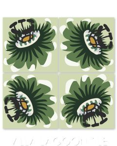 """""""Passion Flower Oblique in Peridot"""" Whimsical Floral Cement Tile by Jeff Shelton, from Villa Lagoon Tile."""