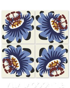 """Passion Flower Oblique in Periwinkle and Bold Brick"" Whimsical Floral Cement Tile by Jeff Shelton, from Villa Lagoon Tile."