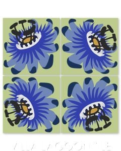 """""""Passion Flower Oblique in Periwinkle on Green Apple"""" Whimsical Floral Cement Tile by Jeff Shelton, from Villa Lagoon Tile."""